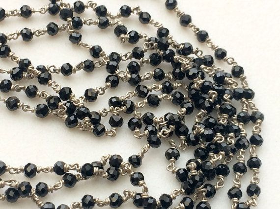 WHOLESALE 5 FEET Black Spinel Faceted Rondelle by gemsforjewels