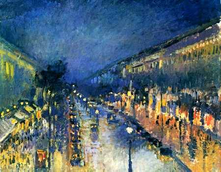 Boulevard Montmartre, Night Effect  Camille Pissarro
