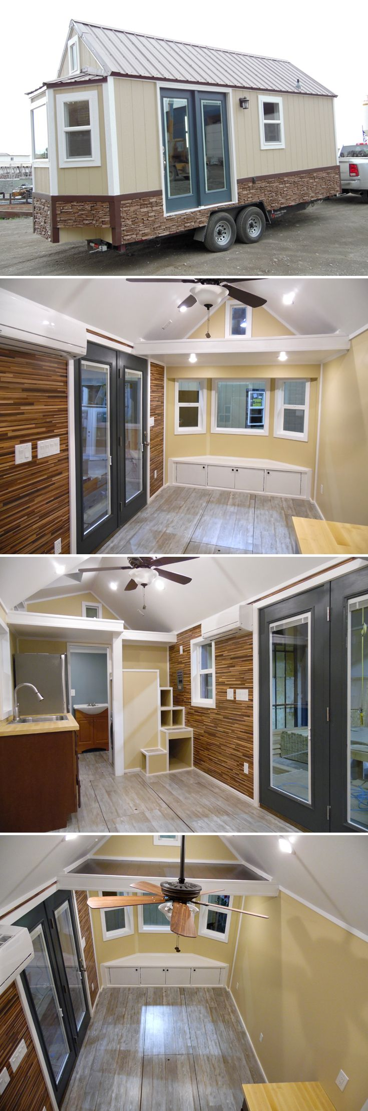A 20' tiny house with bay window and storage under the built-in couch. Along one interior wall is laminate siding that adds a bit of character to the home.