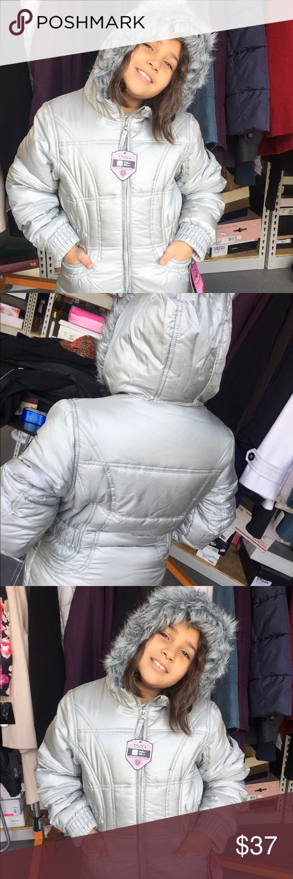 Girls puffer coat. New with tag Silver little girls puffer coat. Retails $75.00. Sizes 2,3,4,5,6,6X, 16. Faux fur hood. Zipper. Pockets. Jackets & Coats Puffers