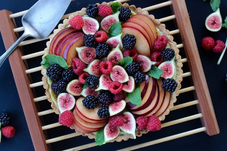 Nearly-Fall Fruit Tart with Goat Cheese and Almond Shortbread Crust