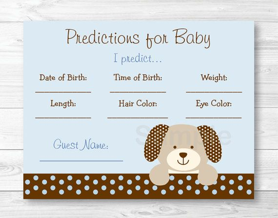 Puppy Dog Baby Predictions Baby Shower Game by LittlePrintsParties