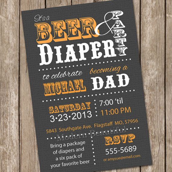 Beer and diaper invitation dad baby shower by ModernBeautiful, $13.00