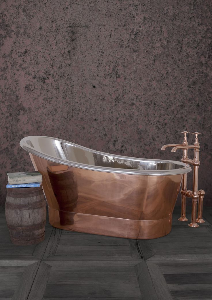 Bijou 1500mm Copper & Nickel - Our Copper collection continues to expand with The Bijou. Our fresh take on a classic, distinctly French single slipper bateau bath first used in 19th Century. Its unusual high ended design adds a touch of 'je ne sais quoi' to the bathing experience. Perfect for smaller spaces. #Bath #Baths #Bathing #Copper #Nickel #Luxury #NewDesign #Decorex #Bespoke #Hurlingham