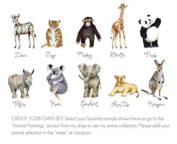 Dierentuin kwekerij Prints Mix en Match Set van 6 dier