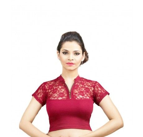 Maroon Cotton lycra stretchable nonpadded top/blouse. - Stretchable Lycra & Velvet Blouse - Blouses - Saree,Blouse & more