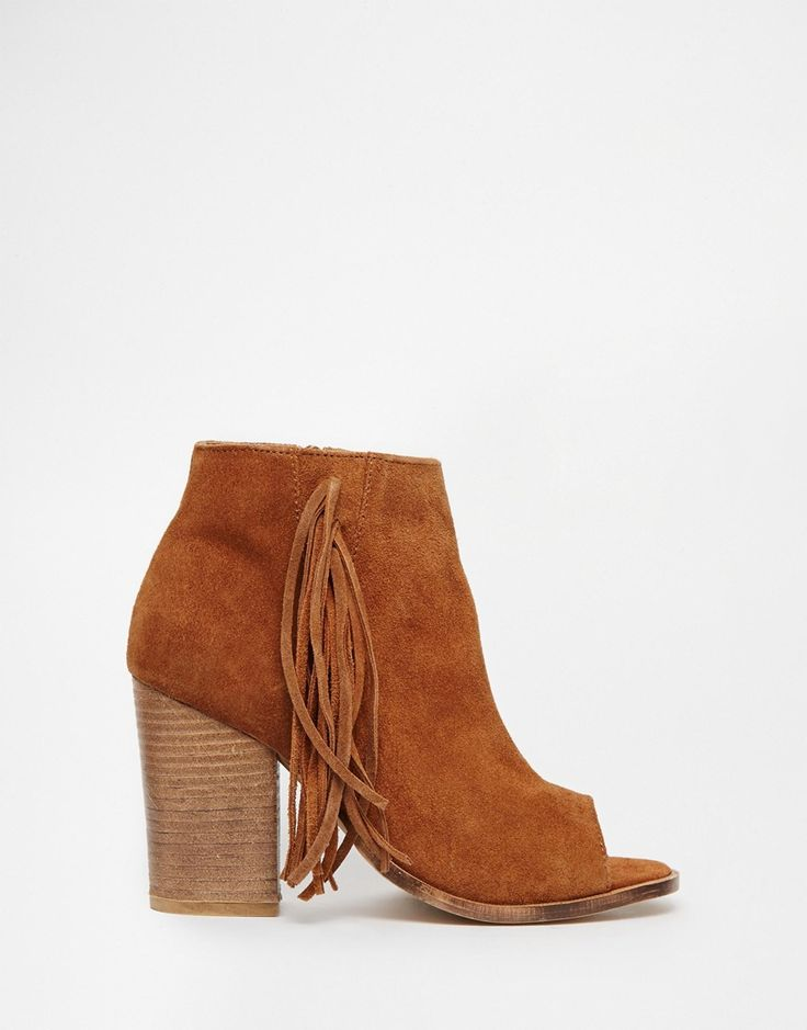 Image 2 of ASOS ENLIGHTEN Fringe Leather Peep Toe Boots