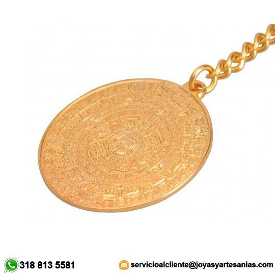 Llavero Calendario Azteca baño en oro de 24k, #joyasprecolombinas