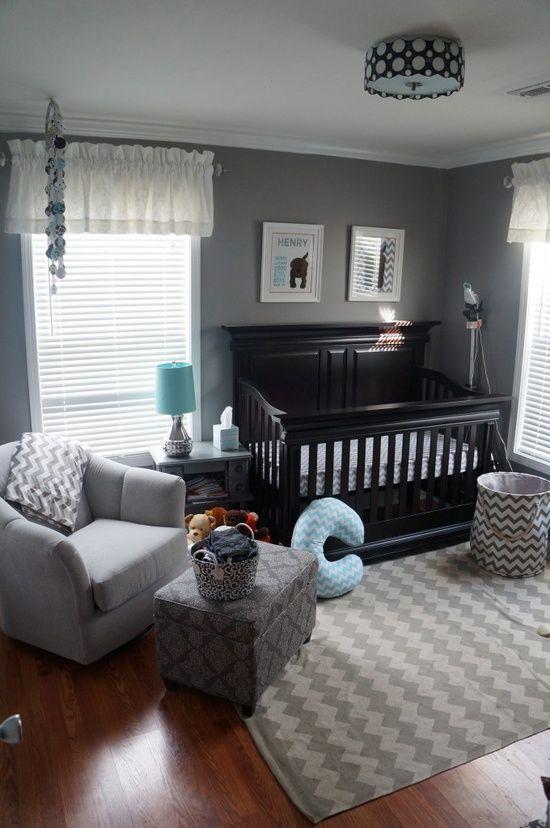 Cute grey baby room for a boy