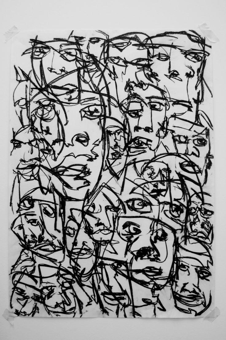 Joe Howlett - Mar de Rostros III. Carboncillo sobre papel.