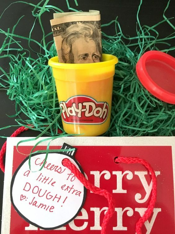 Creative ways to give money as a gift--Play dough!