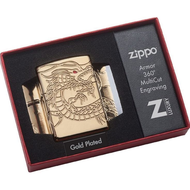 Zippo Collection Plated Gold Armor Multi-Cut Chinese Dragon Lighter
