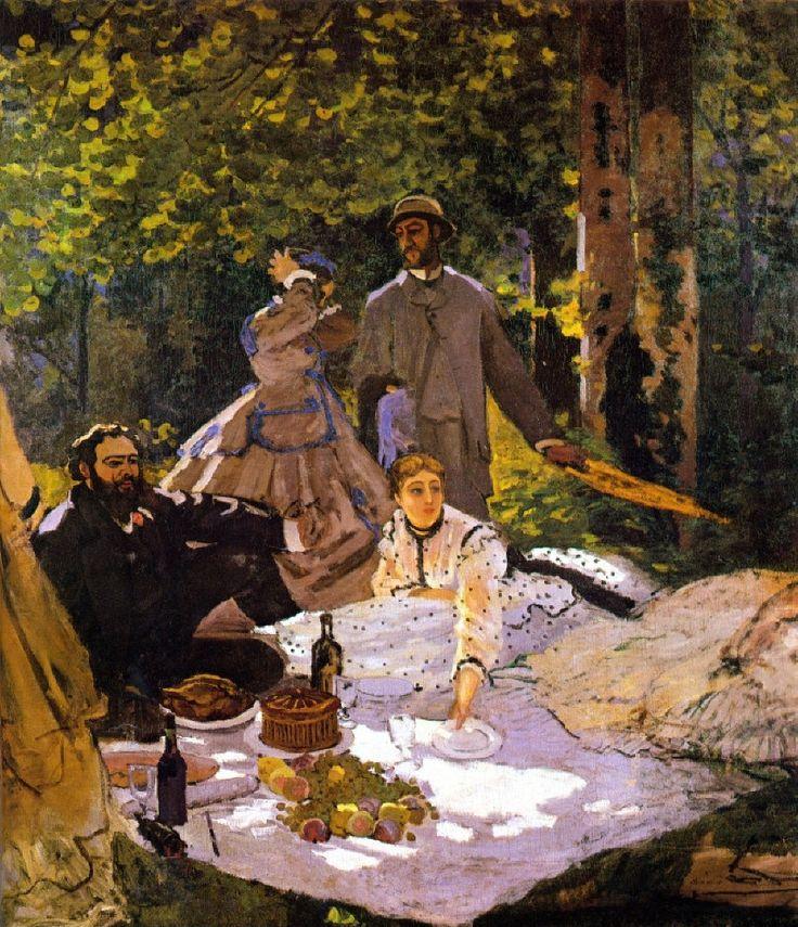Déjeuner sur l'herbe, Monet, 1865#Claude Monet (1840-1926) est un peintre emblématique du mouvement impressionniste, qui tire son nom de l'une de ses compositions : Impression, soleil levant, daté de 1872. A Giverny, il exécute de célèbres séries (comme les meules de foin) pour étudier les variations de la lumière. De la fin des années 1890 jusqu'à sa mort en 1926, le peintre se consacre au cycle des Nymphéas, aujourd'hui exposé au musée de l'Orangerie (Paris)#http://urlz.fr/3gBX#RMN#4,1,24