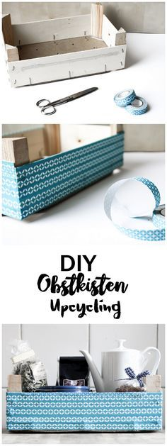 DIY Upcycling Recycling Obstkiste | Aufbewahrung | Küche | Tape | Stoff | Box Upcycling with textile tape | Idee