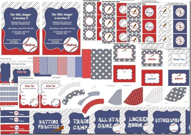 baseball theme printable party set blue and red baseball themed baby