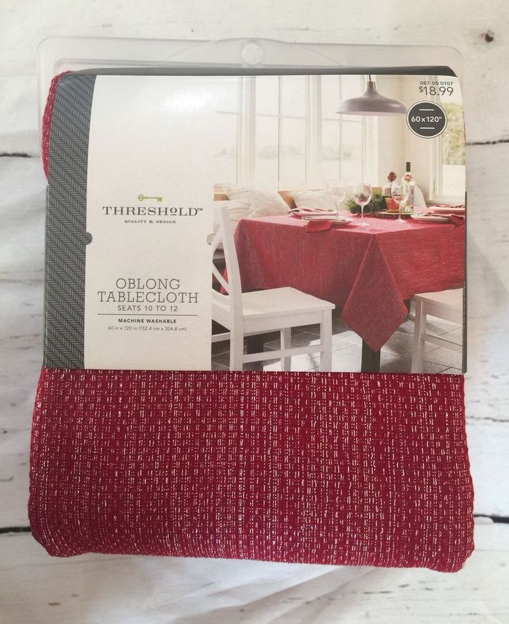 "Threshold Oblong Tablecloth Red Festive 60x120"" Seats 10 To 12  
