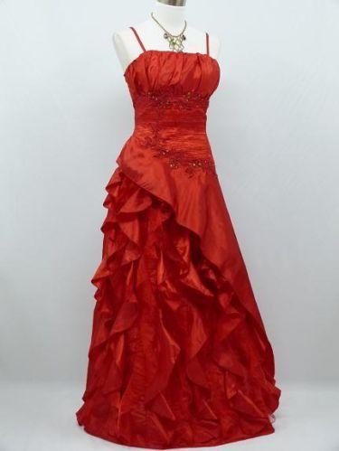 Lovely Satin Red Wedding Prom Evening Dress Size 20 22 | eBay