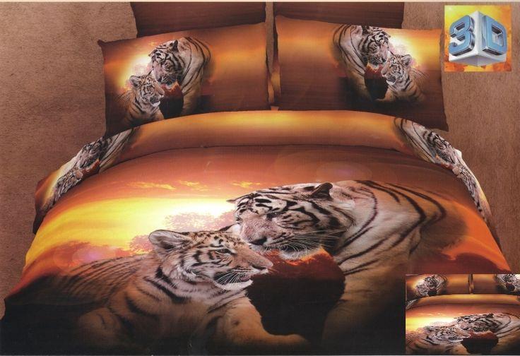 Pościel pomarańczowa bawełniana z tygrysami