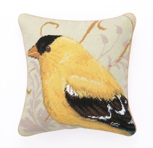Yellow Finch Needle Point Pillow
