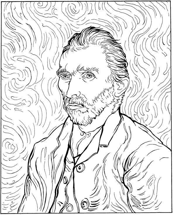 Coloring Page Vincent Van Gogh Vincent Van Gogh This Website Has 30 Of His Works For The Kids To C Van Gogh Coloring Van Gogh Drawings Van Gogh Self Portrait