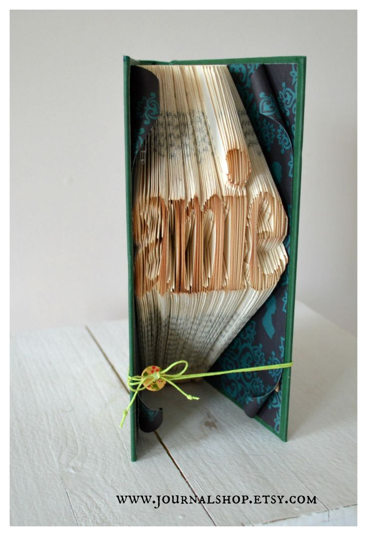 """Book sculpture. The French word """"amie"""". Girl friends.  www.journalshop.etsy.com"""