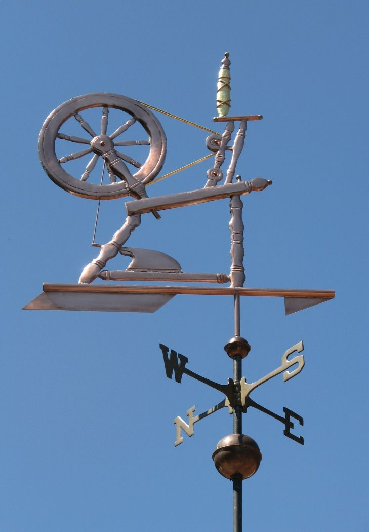spinning wheel weather vane by west coast - Weather Vanes