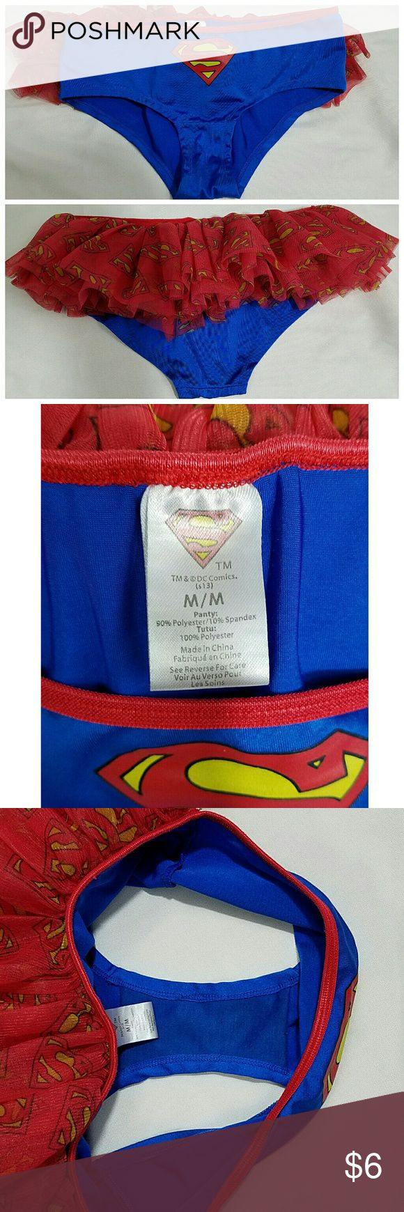 Superman Tutu Underwear Adorable size medium Superman underwear with superman half tutu on the back. Last picture is to show cleanliness. Worn once to a rave, in exceptional condition. Feel free to make an offer or bundle to save 20%, I have a lot more superman items in my closet! Hot Topic Intimates & Sleepwear Panties
