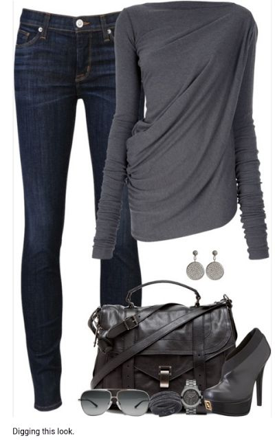love the drape of the top and wash of the jeans. Only thing I would change is the heels