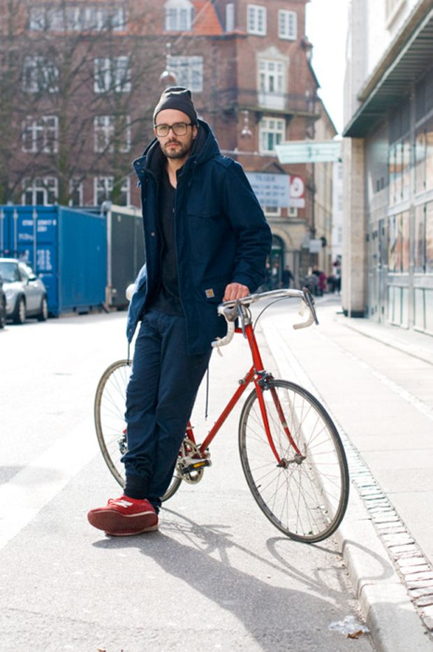 Much like my high school obsession with boys on skateboards, I just love a well styled man on a bike. Image via The Brown Workshop.