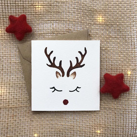 hand painted card xmas cards christmas card reindeer card
