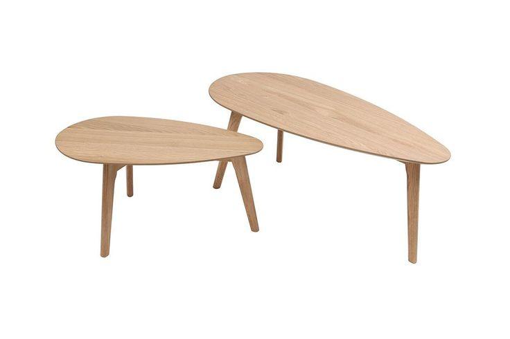 Lot de deux tables basses chêne ARTIK - Ixina