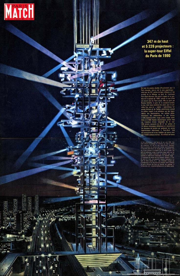 Nicolas Schöffer - projet de la Tour Lumière Cybernétique (1963)