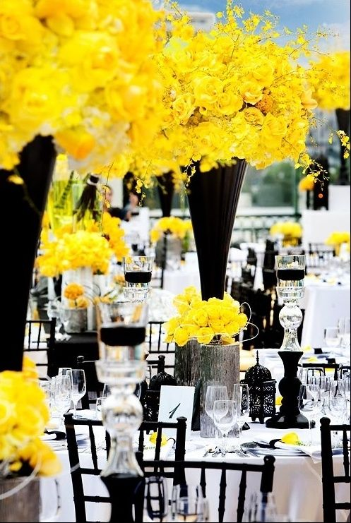 Wedding Theme: Black and White with a pop of an accent color, like canary yellow  I see this matching a super classic hairstyle. With a soft, Hollywood S wave pattern.