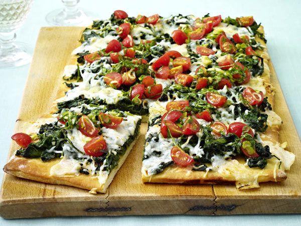 Spinat-Rezepte - grün, gesund und lecker - spinat-ziegenkaese-pizza2 Rezept