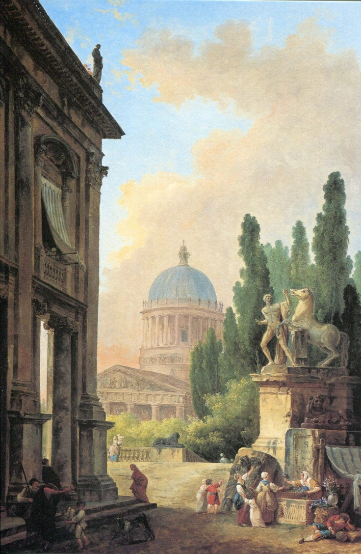 Hubert Robert(ユベール・ロベール), モンテ・カヴァッロの巨像と大聖堂の見える空想のローマ景観 (1786)