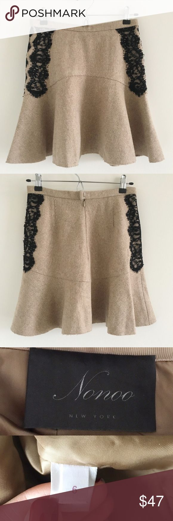 🆕 Misha Nonoo Felted Wool & Lace Mini Skirt Sz 6 A super cute mini skirt in a neutral beige-y camel color perfect for cold weather layering.  Transitions seamlessly from the office to happy hour to date night 💕  Stats (laying flat): Length: approx. 17"