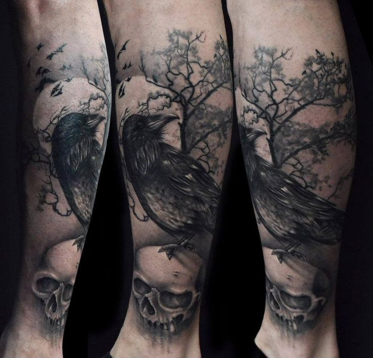 tattoo tattoos raven rabe skull totenkopf sch del tree baum dark dunkel d ster. Black Bedroom Furniture Sets. Home Design Ideas