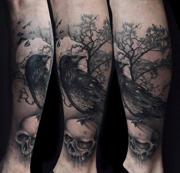 tattoo tattoos raven rabe skull totenkopf sch del tree baum dark dunkel d ster. Black Bedroom Furniture Sets. Home Design Ideas