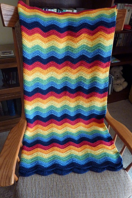 "Beautiful ripple afghan made by Verna47; no pattern, but most likely based on Attic24's ""Neat Ripple"" pattern.   #color #crochet #afghan #blanket #throw"