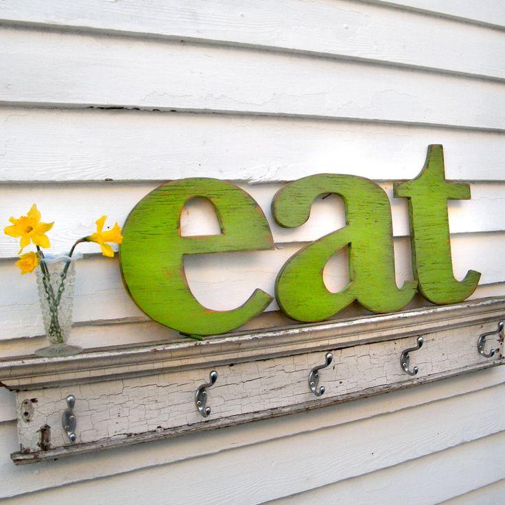 eat Letter Sign Lower Case Letters Kitchen Sign Wood Sign.