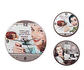 SET de 3 relojes de pared en metal Chica Vintage
