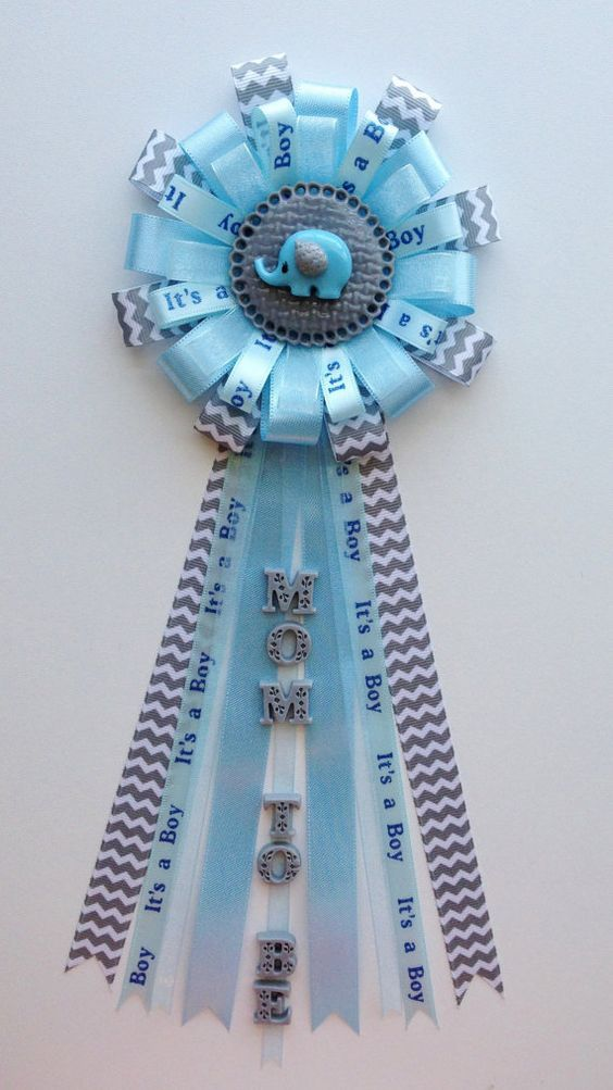 Elephant Theme Gray Chevron and Baby Blue Baby by LezlieZDesigns, $23.00
