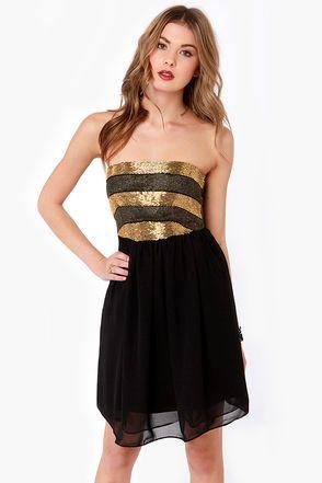 On the Glam Beaded Strapless Black Dress at LuLus.com!