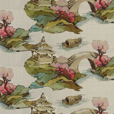 Beige/Green/Multi Asian Drapery and Upholstery Fabric by Kravet