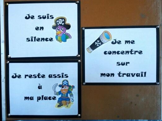Règles de la classe, thème pirates.