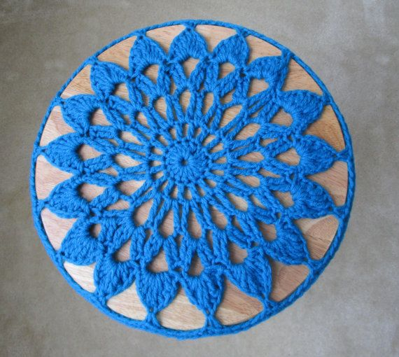 Bar Stool Cover Peacock Blue Crocheted Stool by CoralsChicBoutique