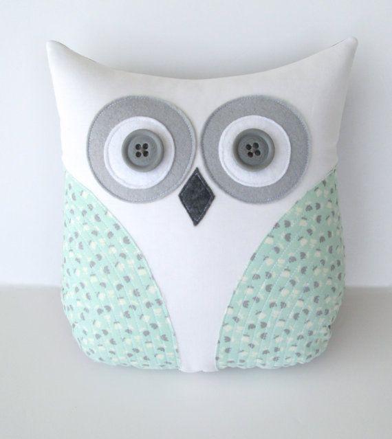 owl pillow, pastel sea foam green, mint green grey nursery decor, home decor, green pillow, graduation gift, teachers gift via Etsy