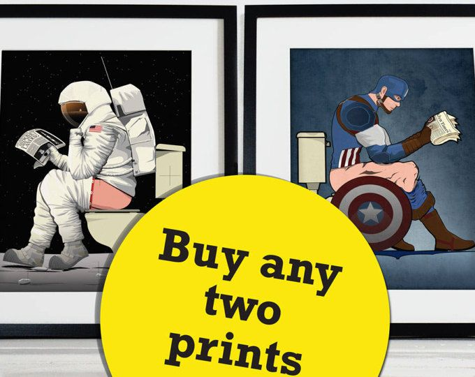 Set of Two Superhero, Spaceman, Spaceship Bathroom Restroom Poster Wall Art Hanging Print Home Décor Toilet humour