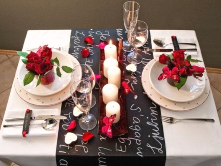 Charming Candle Light Dinner Table Setting Part - 2: Set A Romantic Valentineu0027s Day Dinner Table For Two. Red Roses And Candles  Provide An