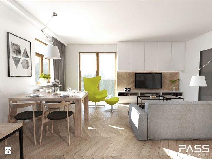 Projekt 17 - Mały salon z jadalnią, styl skandynawski - zdjęcie od PASS architekci